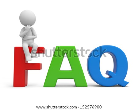 FAQ/3d human character/ Frequently Asked Question - stock photo