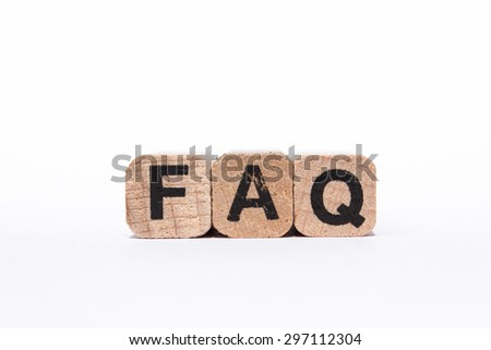 faq , frequently asked questions - text on wooden cubes, isolated on white background - stock photo