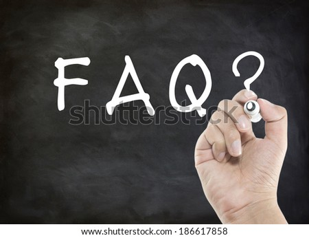 FAQ hand writing - stock photo