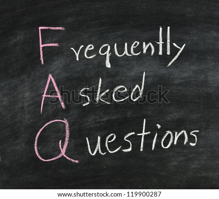 FAQ ,Hand writing with white chalk on blackboard.