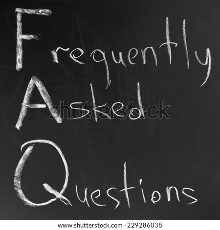 FAQ ,Hand writing with white chalk on blackboard. - stock photo