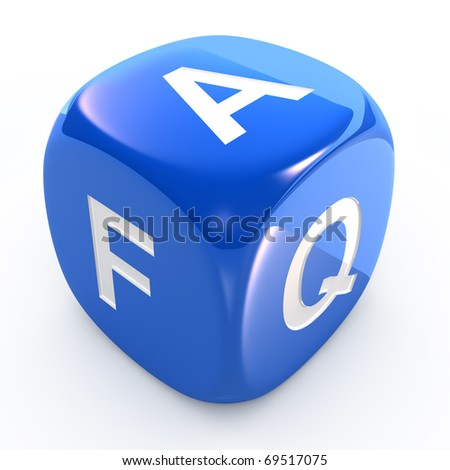 FAQ icon dice isolated on white - stock photo