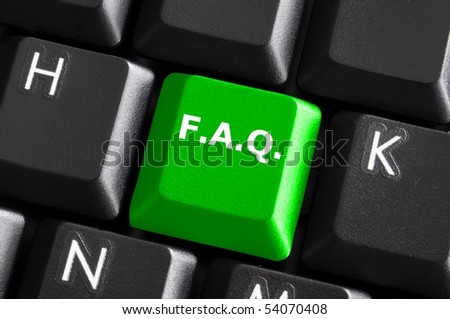 faq internet or web concept with green computer keyboard