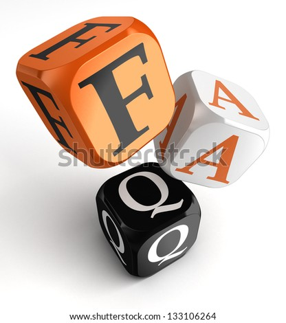 Faq orange black dice blocks on white background. clipping path included - stock photo