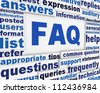 FAQ poster conceptual design. Questions and answers message background - stock photo