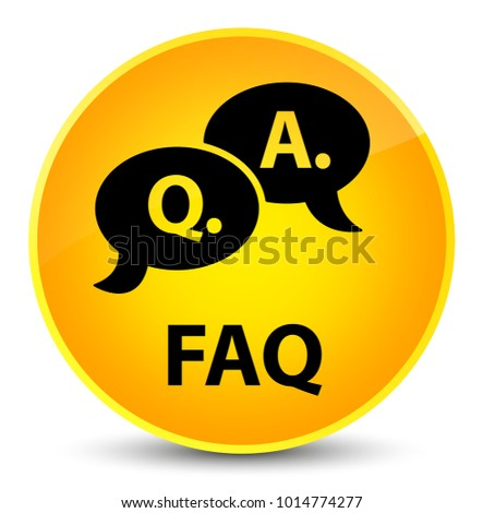 Faq (question answer bubble icon) isolated on elegant yellow round button abstract illustration
