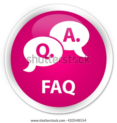 Faq (question answer bubble icon) pink glossy round button - stock photo