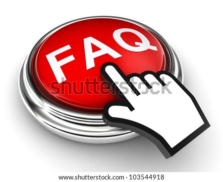 faq red button and cursor hand on white background. clipping paths included