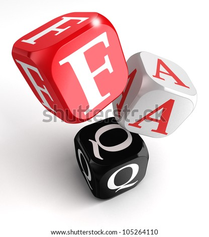 faq red, white and black dice box on white background