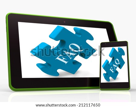 FAQ Smartphone Showing Frequently Asked Questions And Answers - stock photo