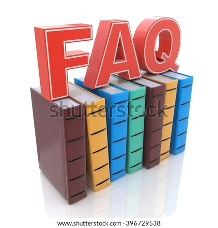 FAQ with books - search answer concept - 3D rendered illustration