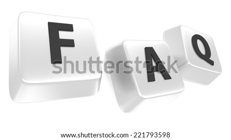 FAQ written in black on white computer keys. Frequently Asked Questions. 3d illustration. Isolated background. - stock photo