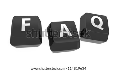 FAQ written in white on black computer keys. Frequently Asked Questions. 3d illustration. Isolated background. - stock photo