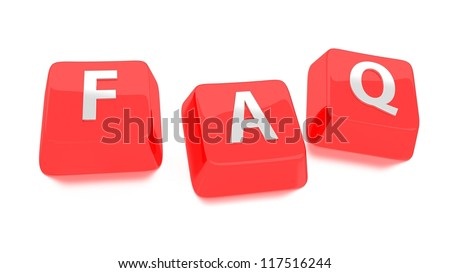 FAQ written in white on red computer keys. Frequently Asked Questions. 3d illustration. Isolated background. - stock photo