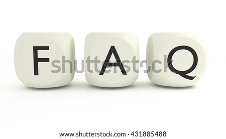 FAQ written with three playing dices, isolated on white background, 3D render - stock photo