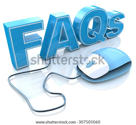 FAQs 3D Text with Computer Mouse  - stock photo