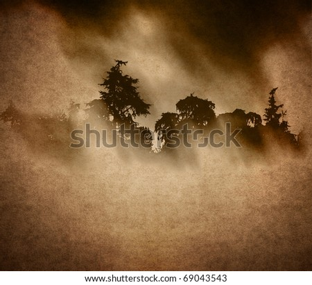 far away forest - stock photo