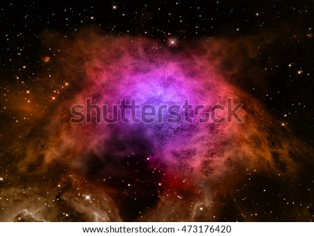 "Far being shone nebula and star field against space. ""Elements of this image furnished by NASA"" ."