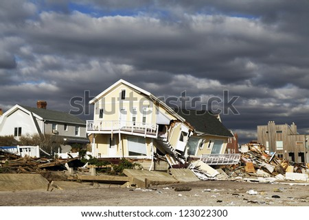 FAR ROCKAWAY, NY - NOVEMBER 4: Destroyed beach house in the aftermath of Hurricane Sandy on November 4, 2012 in Far Rockaway, NY - stock photo