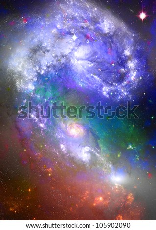 Far space being shone nebula as abstract background - stock photo
