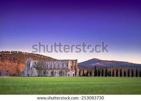 Far view of Saint Galgano Abbey ruins near Siena, Tuscany, Italy - stock photo
