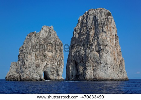 Faraglioni rocks at Capri island, Mediterranean Sea, Italy, Europe