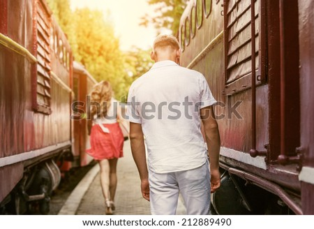 Farewell forever : Last love couple farewell  - stock photo