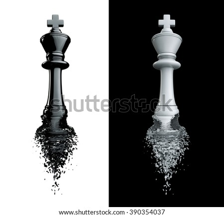 Farewell to the king / 3D render of chess king breaking apart, isolated on black and white