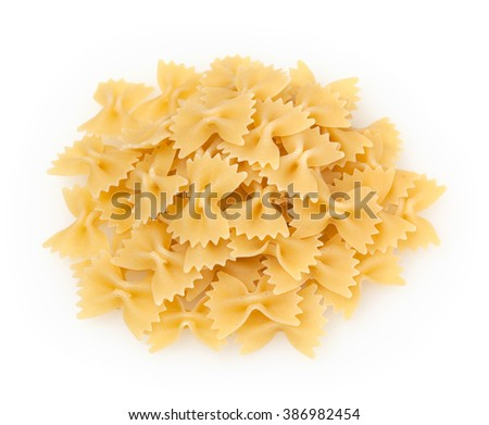 Farfalle pasta isolated on white background - stock photo