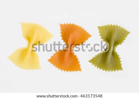 Farfalle pasta on a white background
