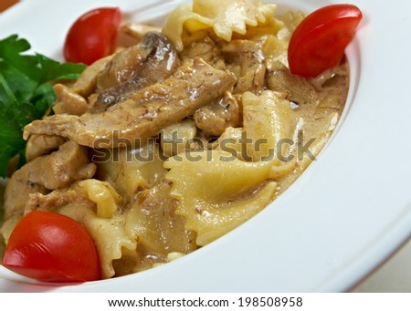 Farfalle pasta with veal and tomatoes