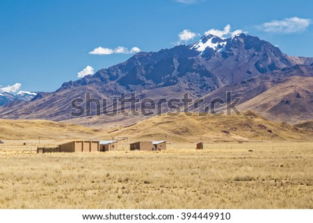 Farm and old house in Andes mountains, Peru - stock photo