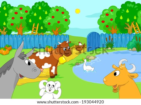 Farm animal in the nature: donkey, goat, rabbit, goose, hen, cow.