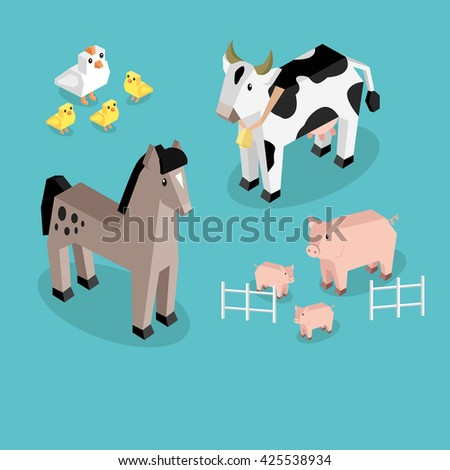 Farm animal set isometric 3d design. Cow and pig, sheep and chicken, farm animals, nature 3d natural livestock animal, fauna animal mammal, healthy character  illustration - stock photo