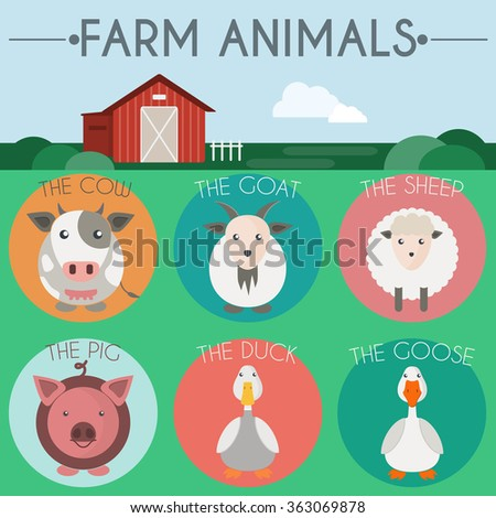 Farm Animals Icon Set. Countryside landscape view. Barn in the field. Colorful round icons. Flat cartoon style digital raster illustration. - stock photo