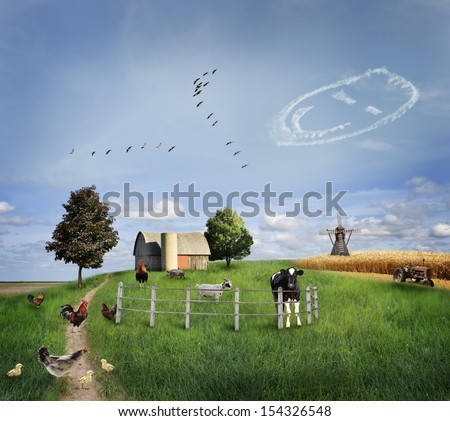 Farm Animals On A Green Field - stock photo