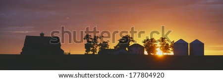 Farm at Sunset, South Ritzville, Route 261, S.E. Washington - stock photo