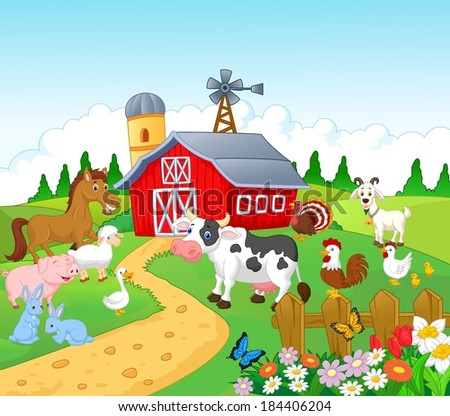 Farm background with animals - stock photo