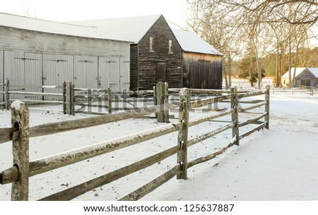 Farm buildings in snow