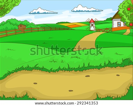 Farm cartoon educational illustration raster version