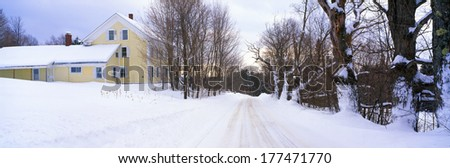 Farm Covered in Snow, Darling Hill Road, Lyndonville, Vermont - stock photo