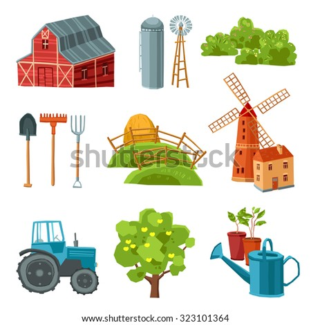 Farm decorative multicolored set with barn tractor windmill haystack silo tower tree bushes watering can spade rake pitchfork isolated  illustration - stock photo