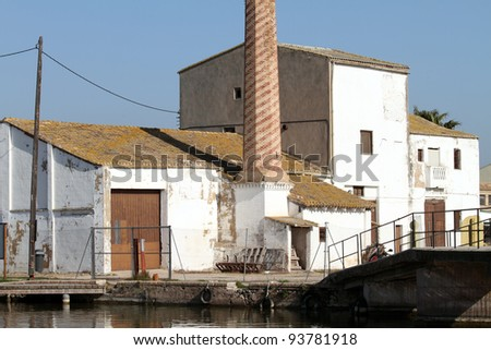 Farm,drying place for rice,La Albufera nature reserve, El Palmar, Valencia, Comunidad Valenciana, Spain. - stock photo