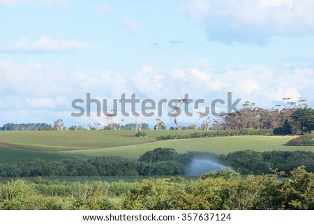farm fields in historic world heritage longford brickendon area tasmania