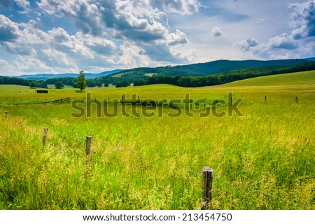 Farm fields in the rural Potomac Highlands of West Virginia. - stock photo