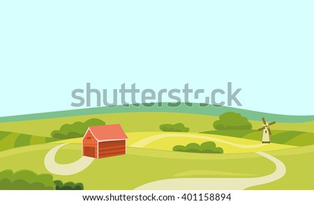 Farm Flat Illustration. Field and House. Agriculture and Fresh Natural Food Concept. Countryside Landscape