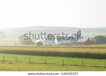 Farm in misty valley in Lancaster County, Pennsylvania