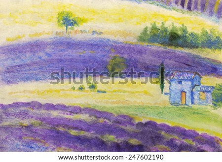 Farm landscape with fields and house - stock photo