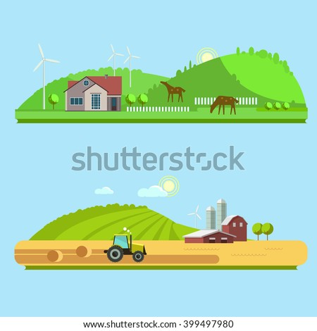 Farm life: natural economy, agriculture,  harvesting, life in the countryside, rural landscapes with fields and hills. Tractor in the field harvests. Raster flat illustration - stock photo