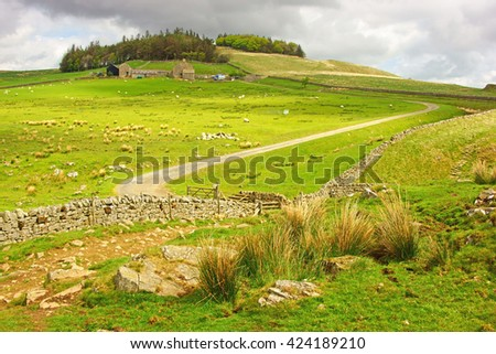 Farm near to Crag Lough and views over the open countryside from Hadrian's Wall in spring, Northumberland, England, UK - stock photo